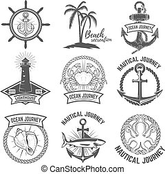 Set of nautical emblems isolated on white background. Design elements for logo, label, sign. Vector illustration.