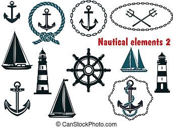 Set of nautical heraldry themed elements - Set of nautical...