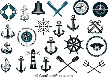 Set of nautical icons - Set of nautical or naval icons with...