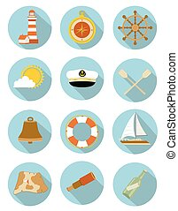 set of nautical icons with shadow. vector illustration
