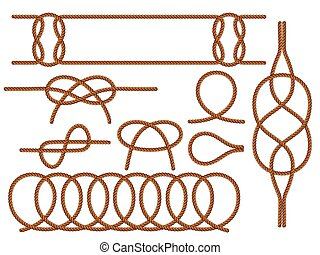 Set of nautical knots. Flat vector brown rope. - Set of ...