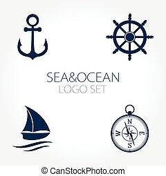 Set of nautical logos