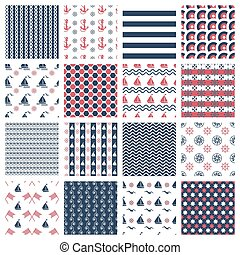 nautical or marine seamless patterns