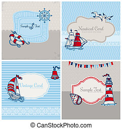 Set of Nautical Sea Cards - for scrapbook and design in vector