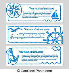 Set of nautical themed banners - Set of nautical themed...