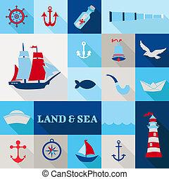Set of Nautical Vintage Elements - for invitation, web,...