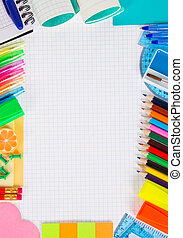 Set of necessary office supply for school or office