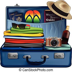 Set of necessary things for a vacation trip
