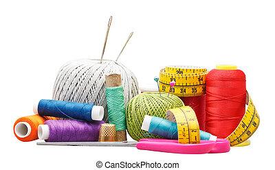 set of needlework objects isolated on white background