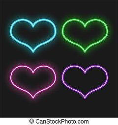 Set of neon bright hearts on black background. Glowing electric Valentine's Day sign. Vector Illustration.