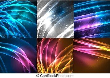 Set of neon glowing wave lines