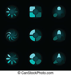 Set of neon icons. A vector illustration