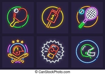 Set of neon icons for sporting games