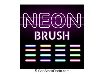Set of Neon light brushes. Colorful neon tubes on dark background. Vector illustration