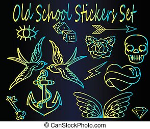 Set of neon old school stickers