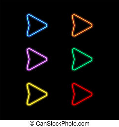 Set of neon pointers on a black background.
