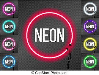 Set of neon round frames on transparent background.