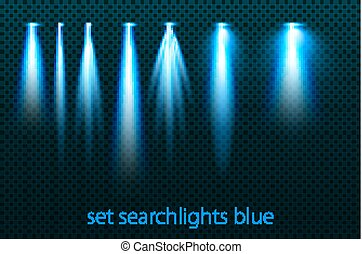 Set of neon searchlights on a transparent background. Bright lighting with spotlights. The searchlight is blue. vector illustration