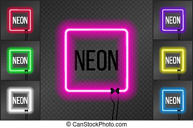 Set of neon square frames on transparent background.
