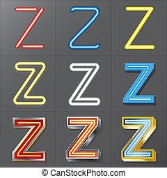 Set of Neon Style Alphabet Z, Eps 10 Vector, Editable for ...