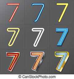 Set of Neon Style Number 7, Eps 10 Vector, Editable for Any...