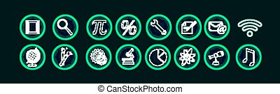 Set of neon vector icons.