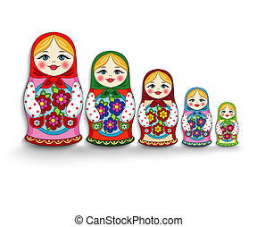 set of nesting dolls - Nested dolls on a white background