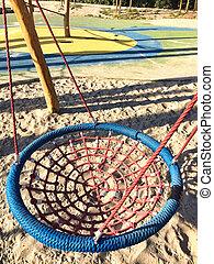 Set of net crawl constructions on kids playground