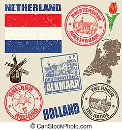 Set of grunge stamps with Netherland on vintage background, vector illustration