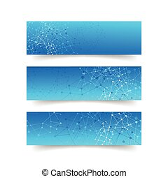 Set of network connection concept banner - abstract background vector illustration