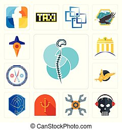 Set of neurosurgery, skull with headphone, appliance repair, psi, atlas, gryphon, unisex salon, banque, travel icons
