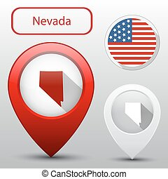 Set of Nevada state with flag america and map pointer