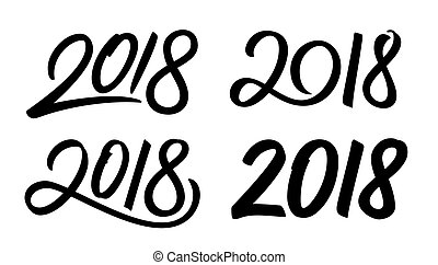 Set of New Year 2018 calligraphy numbers