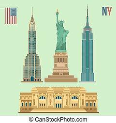 Set of New York Famous Buildings: Statue of Liberty, Metropolitan Museum of Art, Empire State Building, Chrysler Building