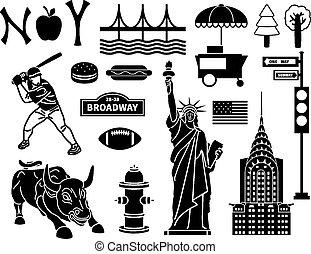 Set of New York icons. Statue liberty and manhattan, bridge and brooklyn, urban and skyscraper. Vector illustration