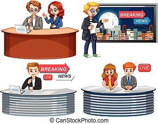 Set of news reporter