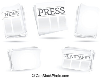 newspaper - Set of newspapers isolated on the white...