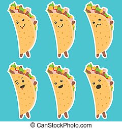 Set of nice emotional taco characters with white outlines on blue background