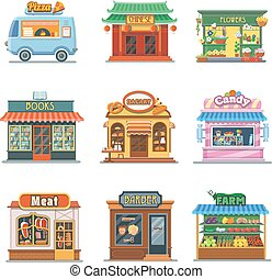 Set of nice showcases shops. Pizza, bakery, candy store,