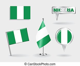 Set of Nigerian pin, icon and map pointer flags. Vector...