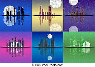 Set of night cityscape generated textures