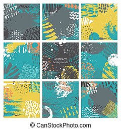 Set of nine abstract backgrounds with hand drawn ink texture.