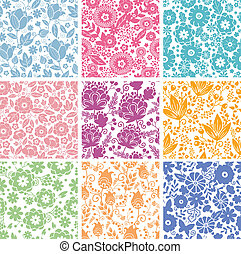 Set Of Nine Abstract Flowers Seamless Patterns Backgrounds