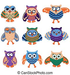 Set of nine amusing owls