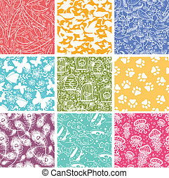 Set of nine animal vector seamless patterns backgrounds with...