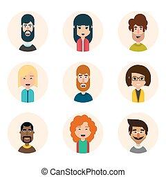 Set of nine avatar vector icons.