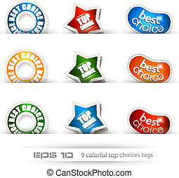 Set of nine best choices tags