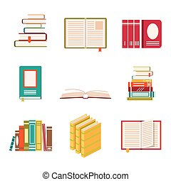 Set of nine book icons in flat design style