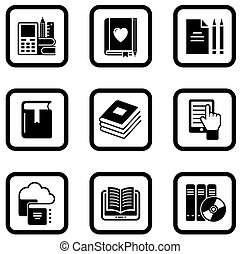 set of nine book icons