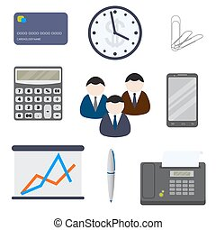 Set of nine business items, isolated on a white background.